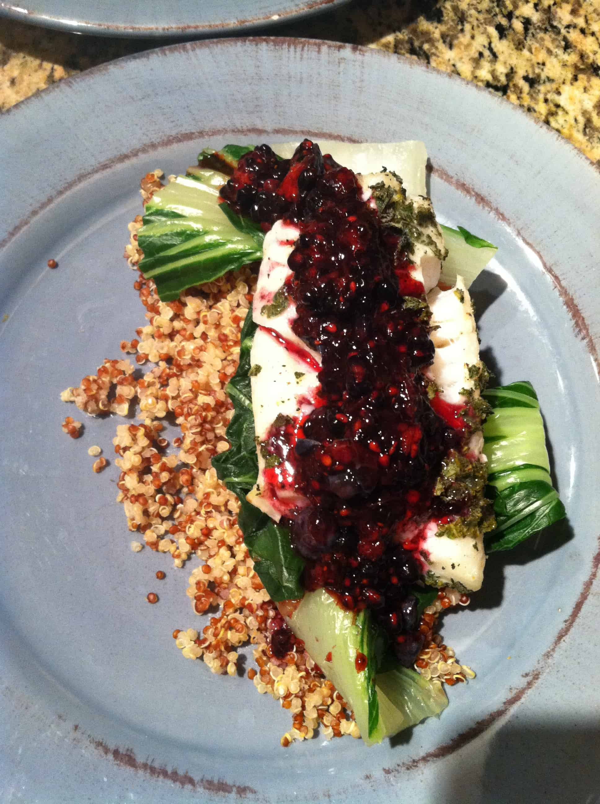 Sage Crusted Baked Cod with Blackberry Coulis