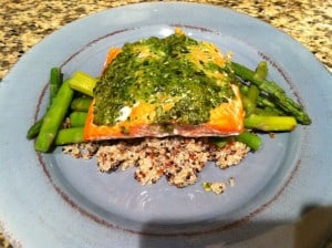 Wild Alaskan King Salmon with Pesto over Rainbow Quinoa and Asparagus
