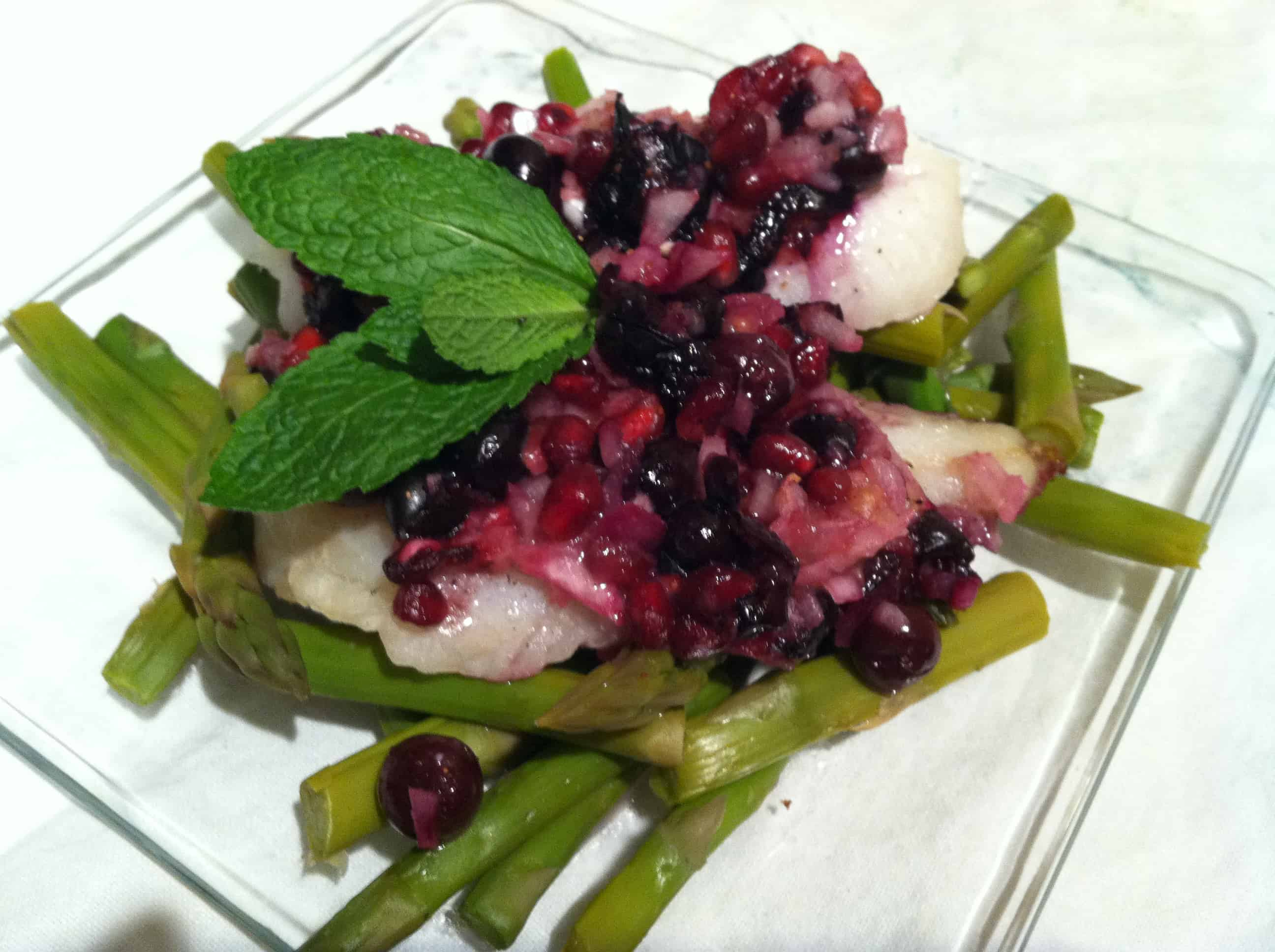 Pomegranate-Blueberry Baked Cod