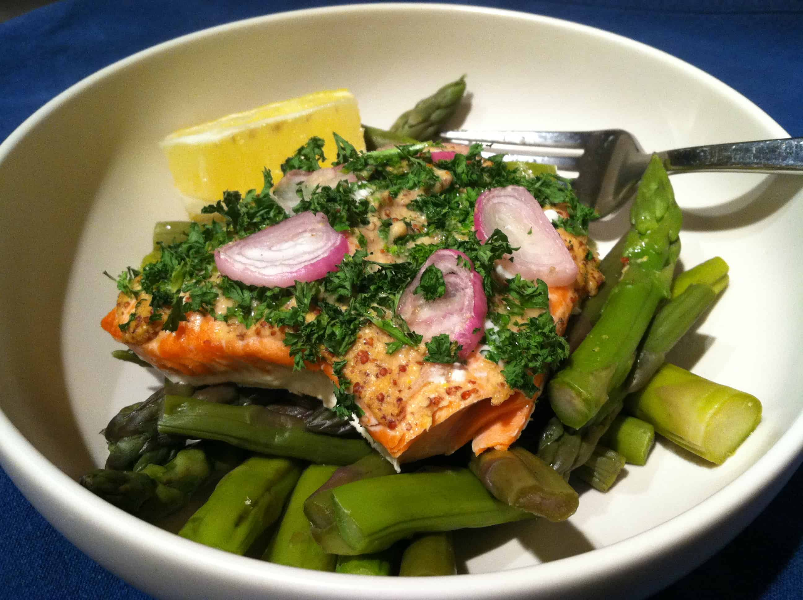 Baked Salmon with Grainy Mustard, Parsley and Sliced Shallots