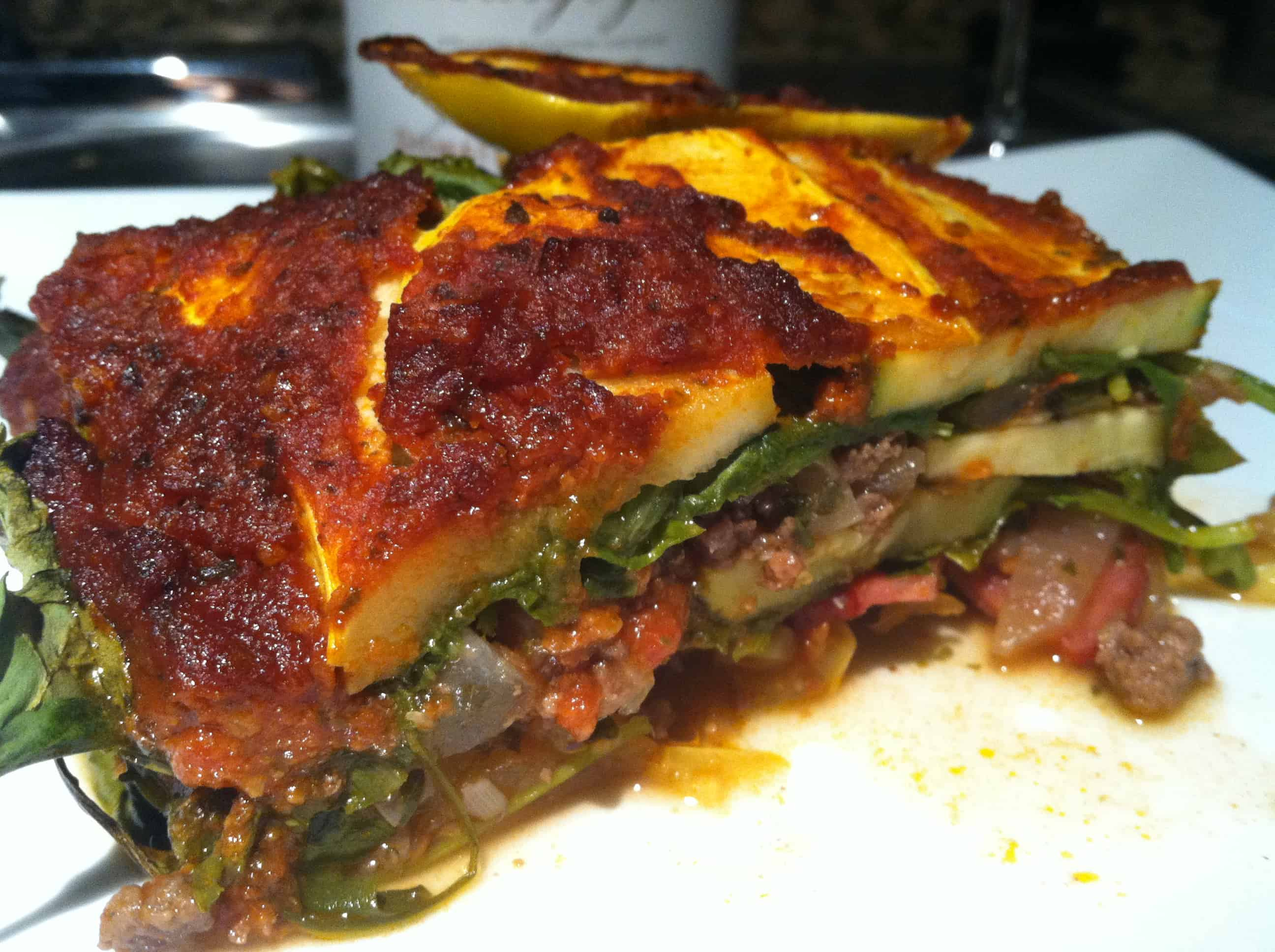 Buffalo and Bacon Paleo Lasagna (gluten and dairy free)