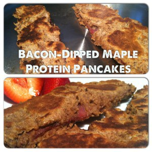 Bacon Dipped Maple-Protein Pancakes gluten free, dairy free