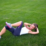 Sprinter Sit-Up - Bring left elbow to your knee to engage your obliques. The slower you take these, the better the results.