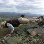 You really can work out anywhere! Stole this move from Betty Rocker's anywhere fitness challenge- declining pushups at 14,064 feet! Keep those elbows in tight and drop and do 20. Perfect grand finale to a hike