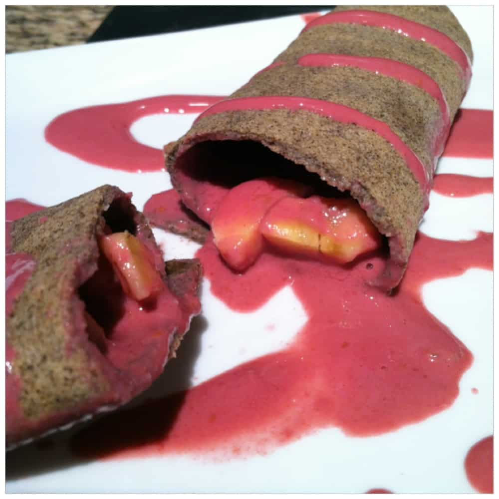 "Gluten-Free Buckwheat Crepes with Raspberry-Protein ""Sorbet"""