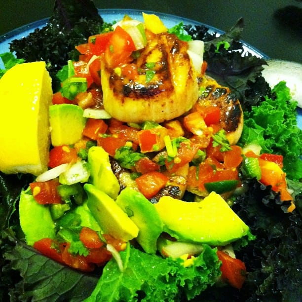 Coconut-Seared Sea Scallops with Raw Kale, Avocado and Salsa