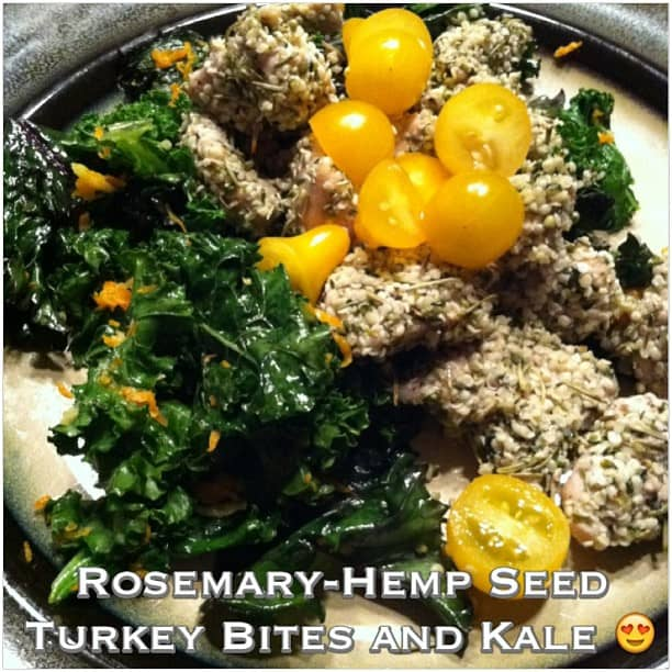 Rosemary Hemp-Seed Turkey Bites and Sauteed Kale