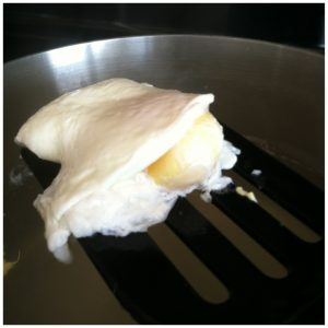 7. Your eggs should be perfectly poached and there will be very little egg white left in the water.