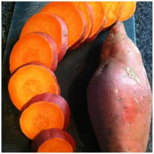 1. Chop Sweet potatoes cross-wise into even sized discs