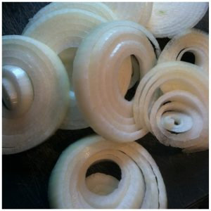 3. Slice 1 onion into even sized discs.