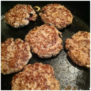 5. Make burger patties that match the size of your sweet potato discs. Grill or cook them to desired done-ness.