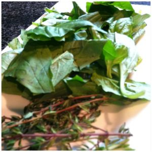 6. Rough chop fresh basil. Remove thyme from stems.