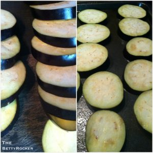 1. Preheat oven to 350. Slice eggplants into even sized discs. Bake for 15 minutes on a baking sheet lightly coated with olive oil.