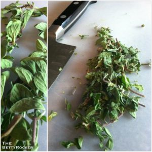 5. Chop fresh marjoram and set aside for garnish.