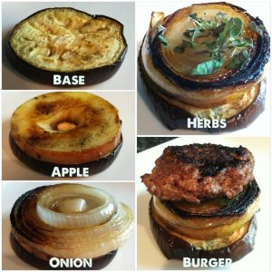 6. To assemble your sliders, start with a slice of eggplant, top with grilled apple, onion and herbs. Stack with a burger.
