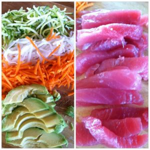 3. Chop/shred cucumber, daikon and carrots. Slice avocado and fish.