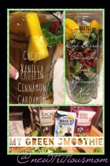 Goji Cardomom Concoction Smoothie by Lauren Lopez - 1/4C Mango 1/3C Kale 1/3C Cucumber 1/2C Spinach 1/3C Goji Berries 1 Kiwi (peeled) 1 Tblsp Cacao Powder 1/8 tsp Cinnamon 1/8 tsp Cardamom 1 scoop of Vanilla Whey Protein (or protein powder of your choice) 1/2 Almond Milk / 1/2 Water (enough to blend)