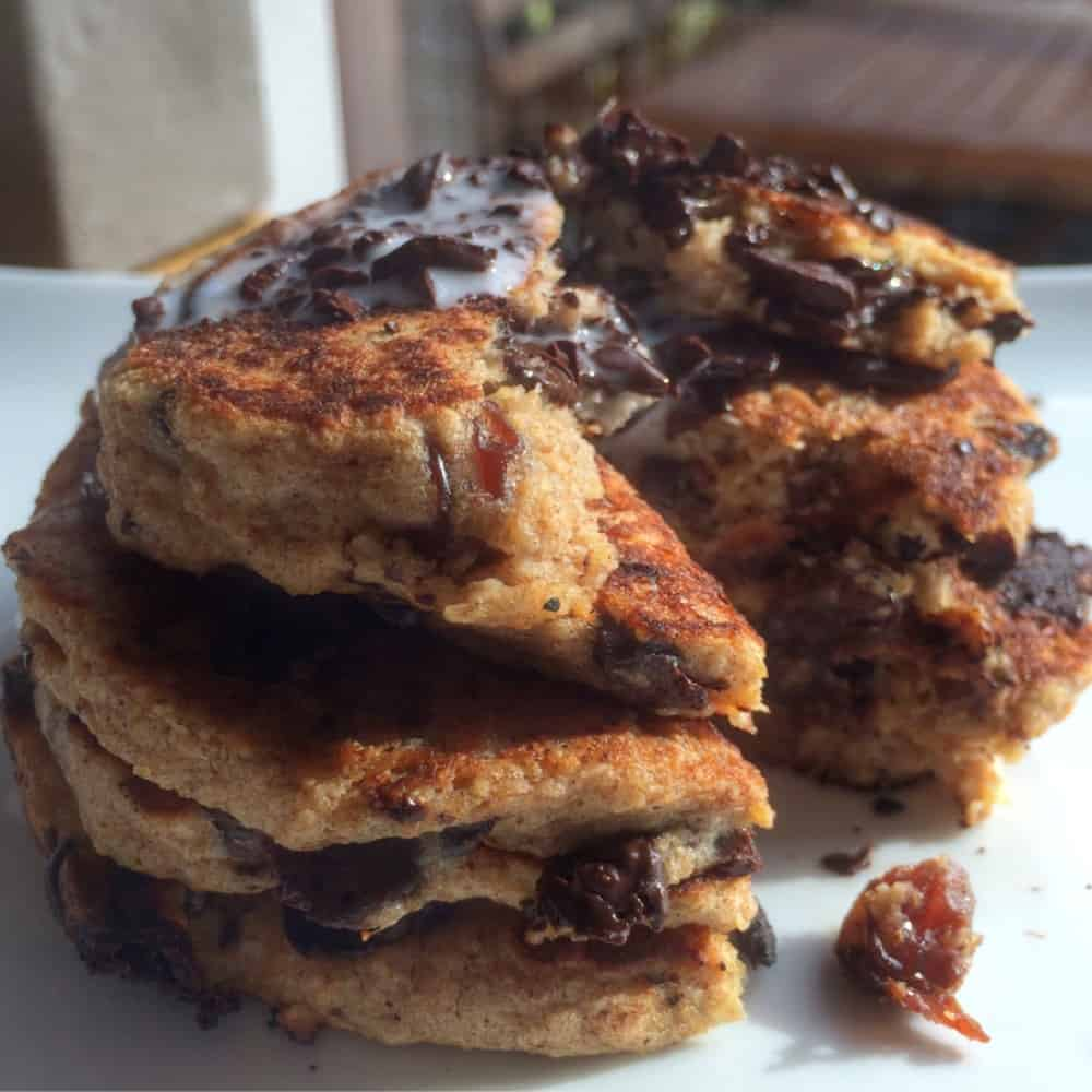 Chocolate Chip Raisin Cookie Pancakes* (gluten free, dairy free, nut free)