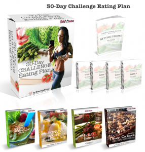 30 day challenge eating plan set with text
