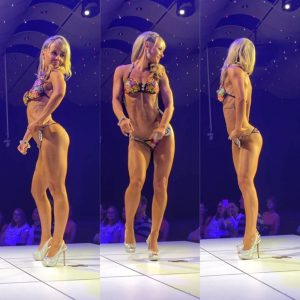 Jessica rockin' her booty on stage at her first WBFF show - where she took 1st and won her pro card!