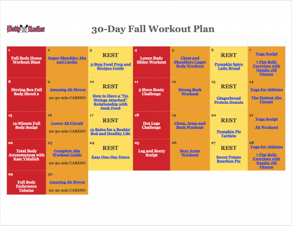 30 Day Fall Workout Plan 2017 Picture