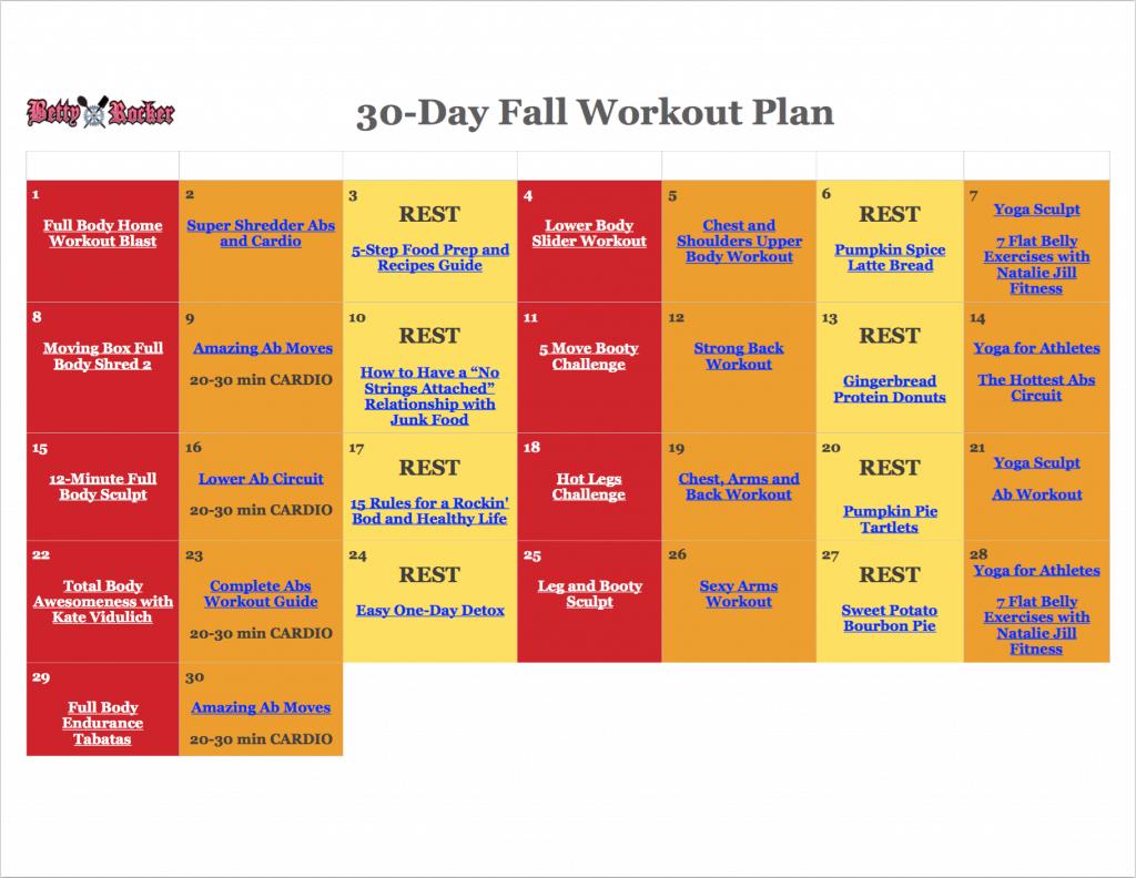 30 Day Fall Workout Plan Calendar Betty Rocker