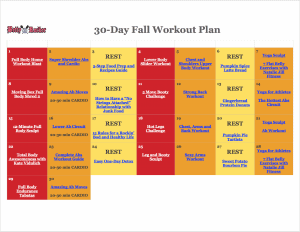 30day fall workout plan calendar  the betty rocker