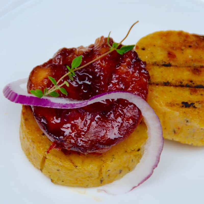 Grilled Sangria Peaches over Summer Herb Polenta with a Raw Honey ...